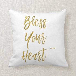Bless Your Heart Faux Gold Foil Typography Pillow