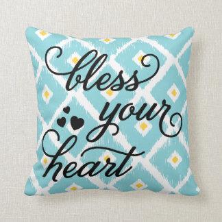Bless Your Heart | Ikat Diamond Pattern Pillow