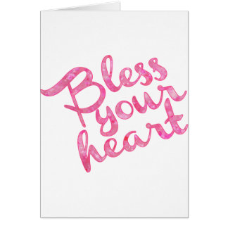 Bless Your Heart Pink Sparkle Greeting Card