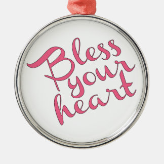 Bless Your Heart Silver-Colored Round Ornament