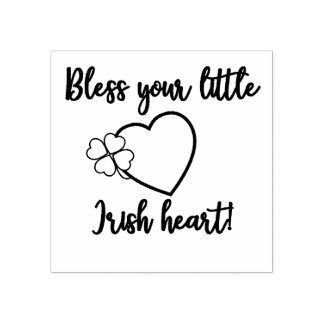 Bless Your Little Irish Heart Shamrock Rubber Stamp