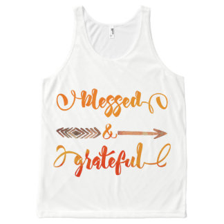 blessed and grateful thanksgiving All-Over-Print tank top