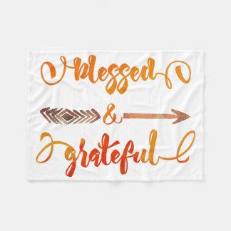 blessed and grateful thanksgiving fleece blanket