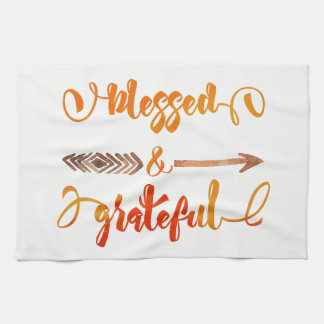 blessed and grateful thanksgiving kitchen towel