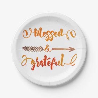 blessed and grateful thanksgiving paper plate
