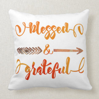 blessed and grateful thanksgiving throw pillow