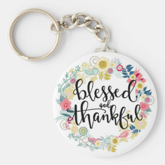 Blessed and thankful keychain