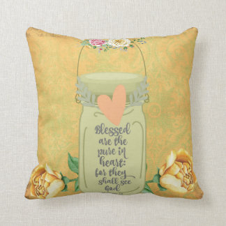 Blessed are the Pure in Heart Bible Verse Throw Pillow