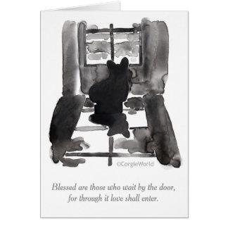 """Blessed Are Those Who Wait"" Corgi Beatitudes Card"