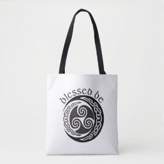 Blessed Be - Celtic Triple Moon Tote Bag