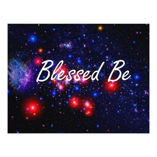 Blessed Be saying against dark space image Flyers