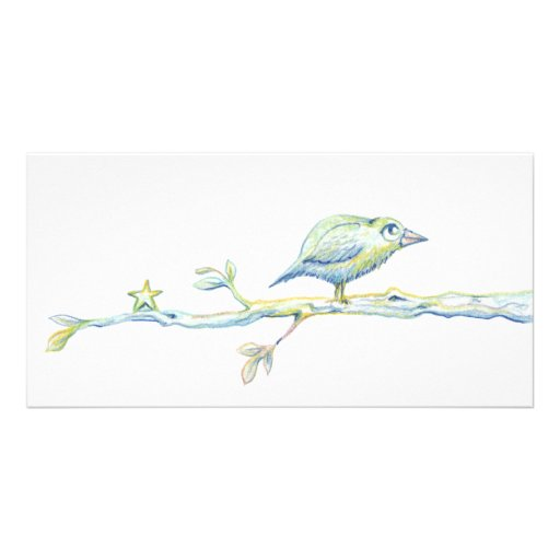 Blessed Bird On a Branch Photo Card Template