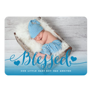 Blessed | Blue Baby Boy Birth Announcement