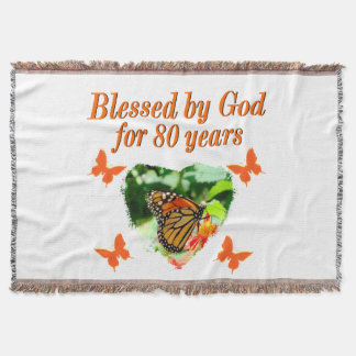 BLESSED BY GOD FOR 80 YEARS BUTTERFLY PHOTO THROW BLANKET