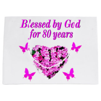 BLESSED BY GOD FOR 80 YEARS FLORAL DESIGN LARGE GIFT BAG