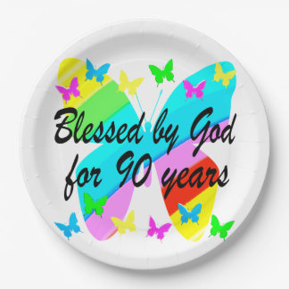 BLESSED BY GOD FOR 90 YEARS 9 INCH PAPER PLATE