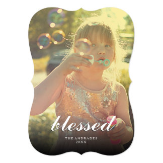 Blessed Christmas Picture Modern Holiday Photo Card