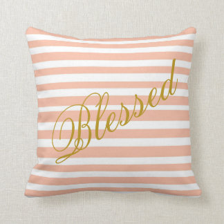 Blessed Coral Stripped Pillow