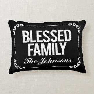 Blessed Family Pillow with Scripture