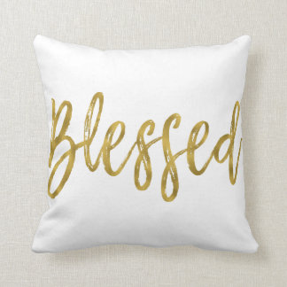 Blessed Faux Gold Foil Typography Pillow