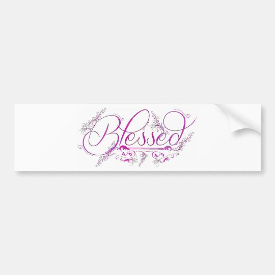 Blessed flourish fuchsia bumper sticker