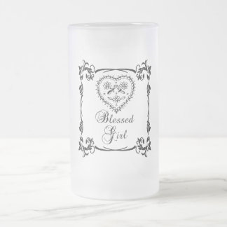 Blessed Girl Frosted Glass Beer Mug