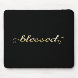 Blessed, Gold Foil-Look Inspirational Grateful Mouse Pad