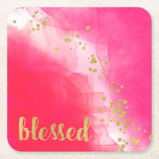 Blessed Gold Glitter Confetti Watercolor Red Pink Square Paper Coaster