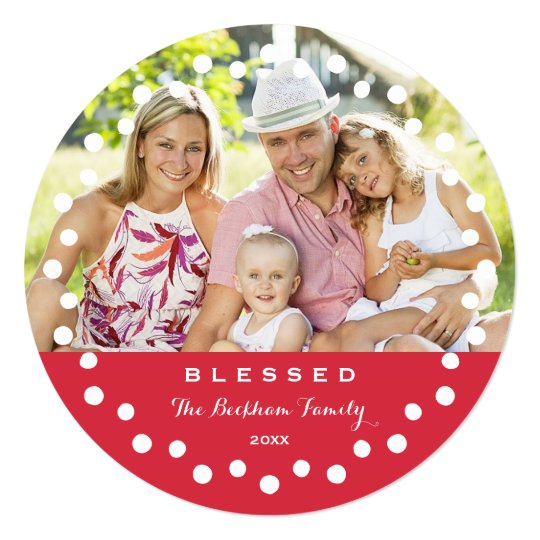 Blessed Holiday Ornament Photo Card / Red