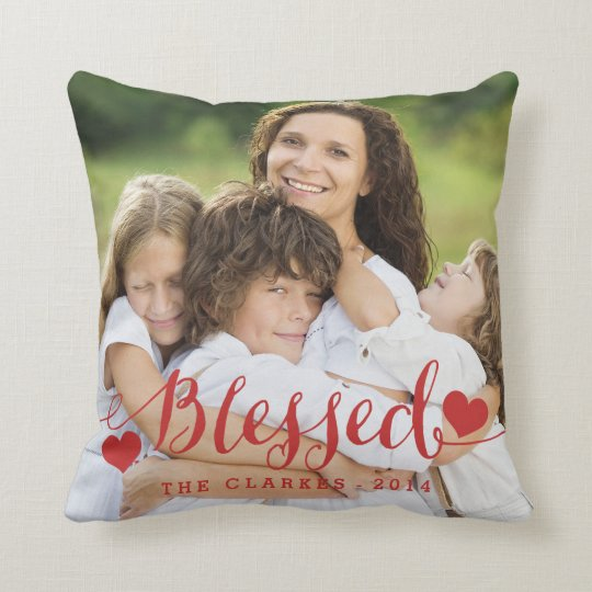 Blessed | Holiday Photo Throw Pillow