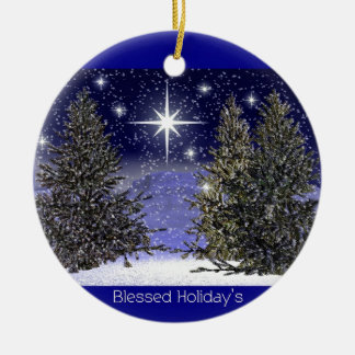 Blessed Holidays Greetings Ceramic Ornament