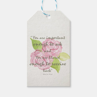 BLESSED & IMPORTANT ENOUGH TO ASK RECEIVE  FLORAL GIFT TAGS