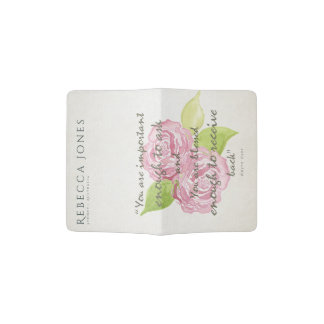 BLESSED & IMPORTANT ENOUGH TO ASK RECEIVE  FLORAL PASSPORT HOLDER