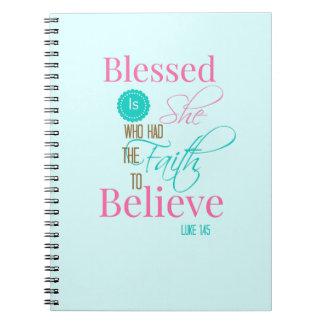 """Blessed is She"" aqua faith journal"