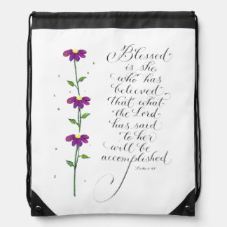 Blessed is she inspiration for women typography drawstring bag