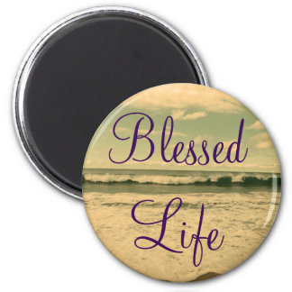 Blessed Life Ocean Waves Photograph 2 Inch Round Magnet