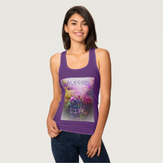 BLESSED LIFE PURPLE SLIM TANK TOP
