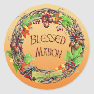 Blessed Mabon Wreath Classic Round Sticker