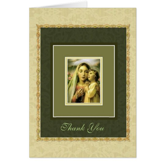 Blessed Mary with Rosary and Child Jesus THANK YOU Card