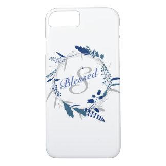 Blessed Monogram Blue Leaves iPhone 8/7 Case