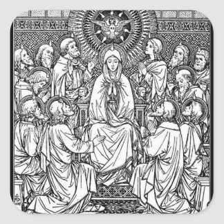 Blessed Mother Apostles Holy Ghost at Pentecost Square Sticker