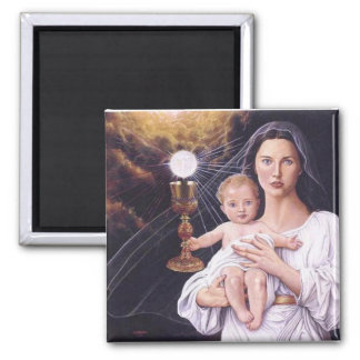 Blessed Mother, Baby Jesus, and Eucharist Magnet