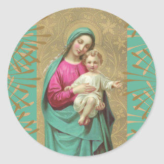 Blessed Mother Baby Jesus Decorative Border Round Sticker