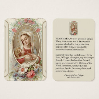 Blessed Mother Baby Jesus  Roses Business Card