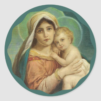 Blessed Mother holding the Baby Jesus Round Sticker
