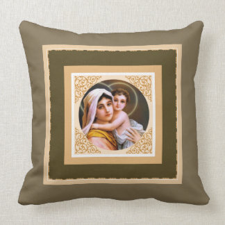Blessed Mother holding the Baby Jesus Throw Pillow