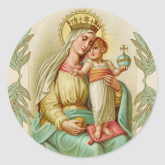 Blessed Mother holding the Child Jesus Globe Classic Round Sticker