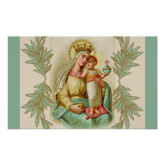 Blessed Mother holding the Child Jesus Globe Poster