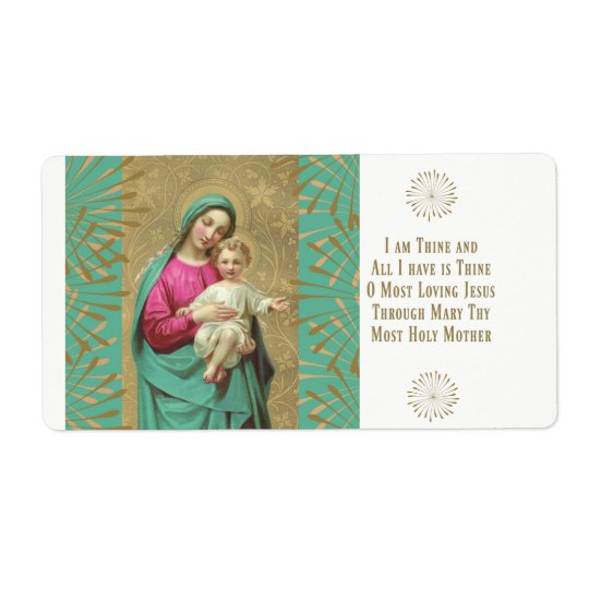 Blessed Mother holding the Child Jesus Prayer Shipping Label