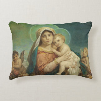 Blessed Mother Mary Baby Jesus Angels Roses Decorative Pillow